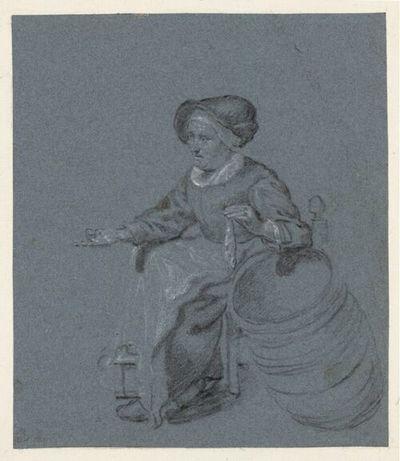 Gerrit Dou: De oude haringverkoopster. Tekening. Jaar: ca. 1633-1675. Albertina.