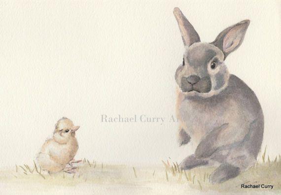 Easter Watercolour art  Rabbit Easter Bunny Digital  cute