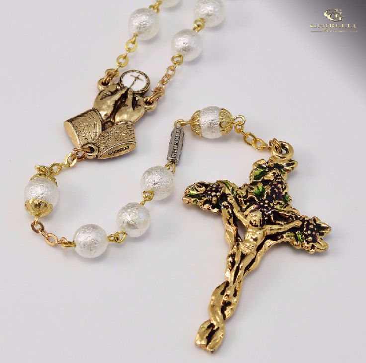 Holy Eucharist gold plated Rosary By Ghirelli