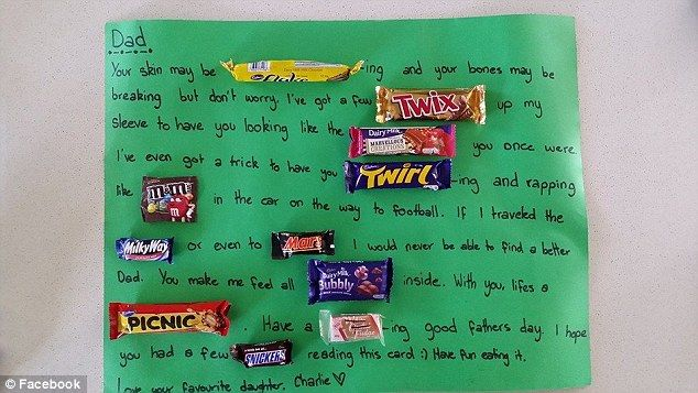 Count them: Charlie included ELEVEN different chocolates in her message...