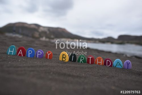 """Download the royalty-free photo """"Happy multicolored Birthday message on black…"""