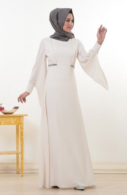 Kayra Boncuk İşlemeli Elbise-Ekru KA-B4-23064-35