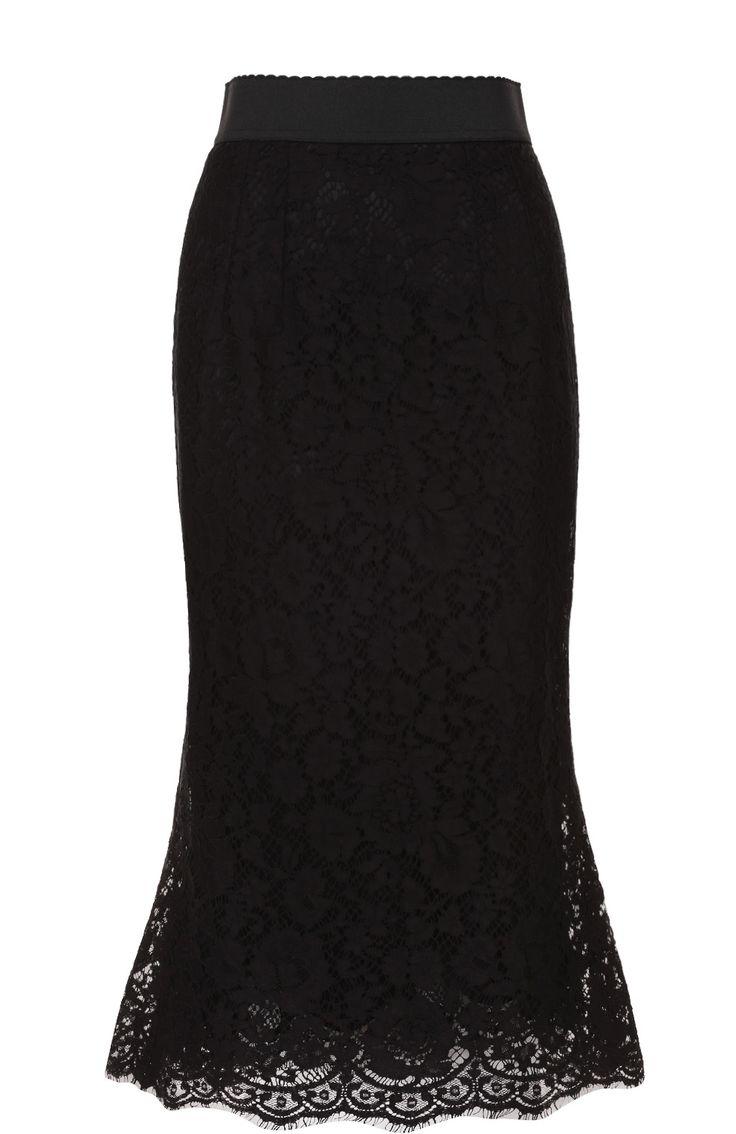 Женская черная кружевная юбка годе с широким поясом Dolce & Gabbana, сезон SS 2017, арт. 0102/F4ATMT/HLMCK купить в ЦУМ   Фото №1