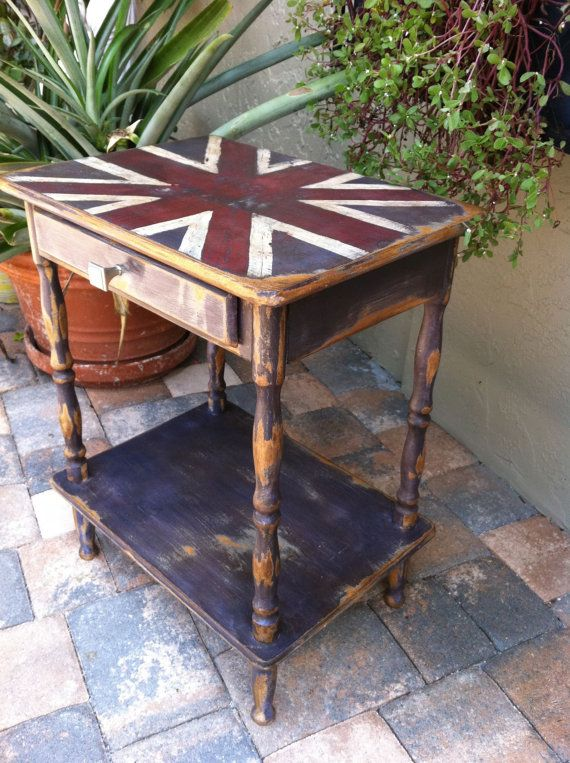 union jack end table by upcyclingAmerica on Etsy