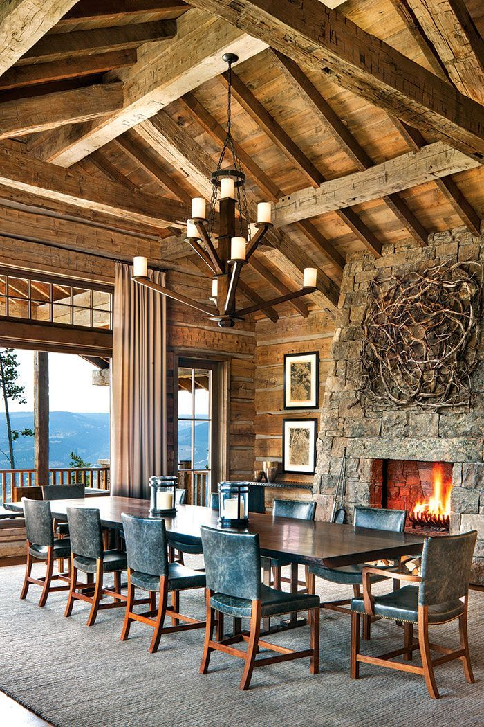 Pin On Make Mine Rustic, Mountain Lodge Dining Room Furniture