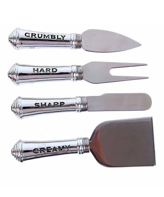 Four-Piece Inscribed Cheese Knife Set