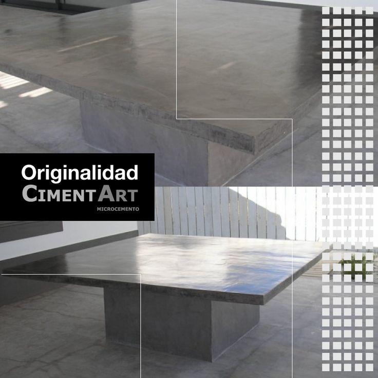 ¿Sabías que el #microcemento también se aplica en mobiliario y otros accesorios? Mira que original es el acabado de esta mesa hecha con este material tan versátil