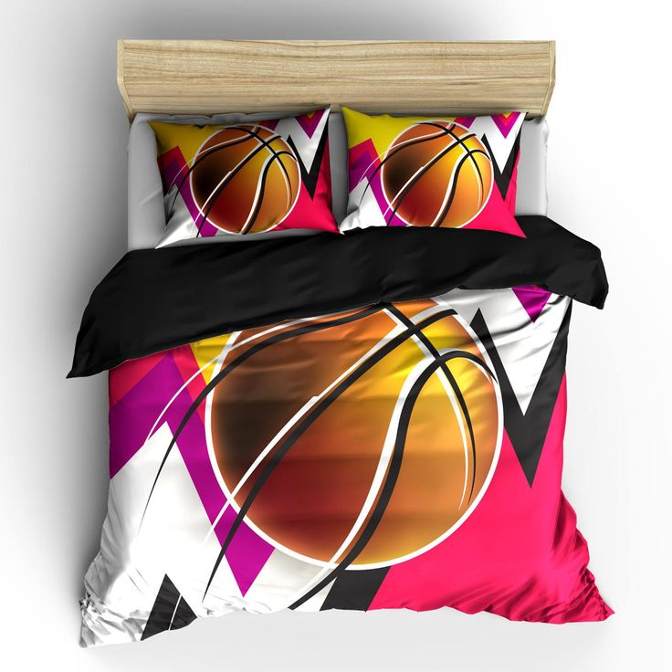 Abstract Girls Mod Basketball Duvet oder Tröster Set   – Basketball room decor