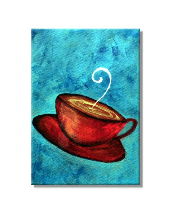 Set Of 3 Coffee Cup Canvas Wraps: Funky Fun Coffee Cup No.3. Original Handpainted Acrylic