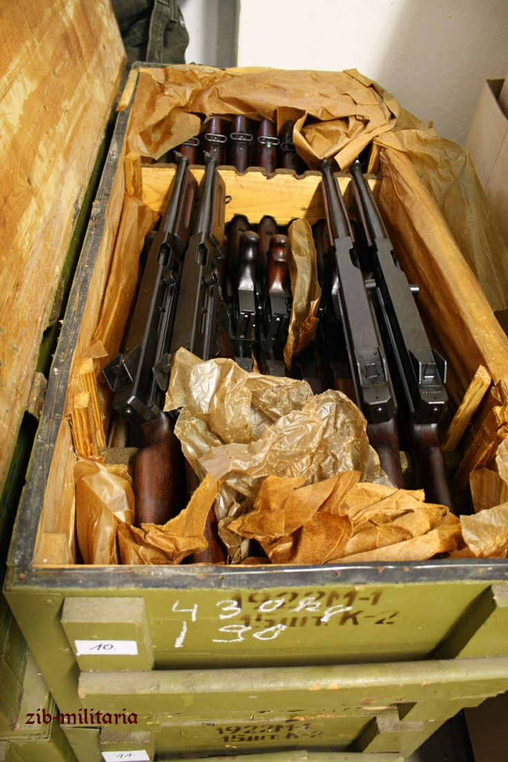 "A case of nearly-new M1A1 Thompson submachine guns that were deactivated in Russia and shipped to Zib-Militaria in Germany for commercial sale. Note the Cyrillic on the side of the crate indicating contents of 15 guns (15шт for ""штук"", or ""piece"")."