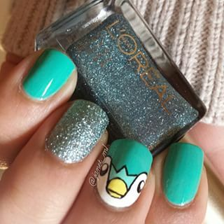 Piplup: | 23 Awesome Nail Art Designs Inspired By Pokémon