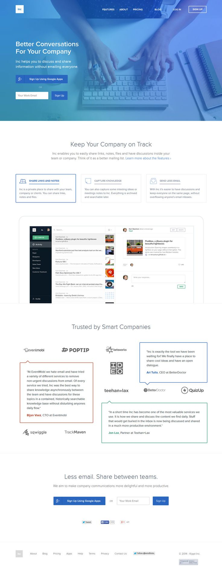 Inc, flat web design, example