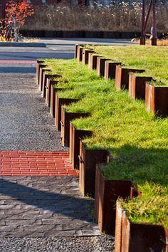 Corten steel retaining wall // Klopfer Martin Design Group