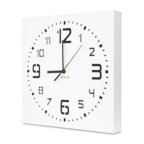 Wall Clock by Kauza, Silent, Non-Ticking, Quartz, Indoor and Outdoor Wall Clock with 3D Laser Cut Out, Modern Numerals in Wooden Frame Battery Operated (11.8in, White)