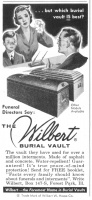 Wilbert Burial Vault 1956 Ad. Funeral Directors have used them for over a million interments. Made of asphalt and concrete. Water-repellent! The Foremost name in Burial Vaults. Trade Mark of W. W. Haase Co.