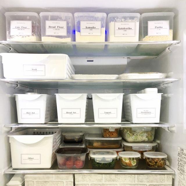 ___riiiie___さんの、シンプルな暮らし,モノトーン,自作ラベル,シンプル,住まい,ラベル,丁寧な暮らし,冷蔵庫収納,冷蔵庫,暮らし,Instagramやってます,綺麗好き,ダイソー,simple,暮らしを楽しむ,常備菜,作り置き,ガラス保存容器,IWAKI,IKEA ,のお部屋写真