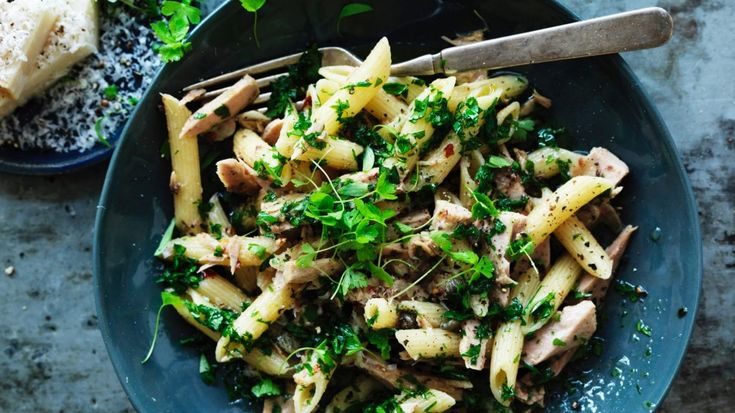 Penne with preserved chilli tuna
