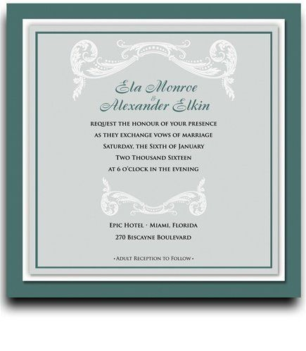140 Square Wedding Invitations - Vizcaya Deep Emerald by WeddingPaperMasters.com. $366.80. Now you can have it all! We have created, at incredible prices & outstanding quality, more than 300 gorgeous collections consisting of over 6000 beautiful pieces that are perfectly coordinated together to capture your vision without compromise. No more mixing and matching or having to compromise your look. We can provide you with one piece or an entire collection in a one s...