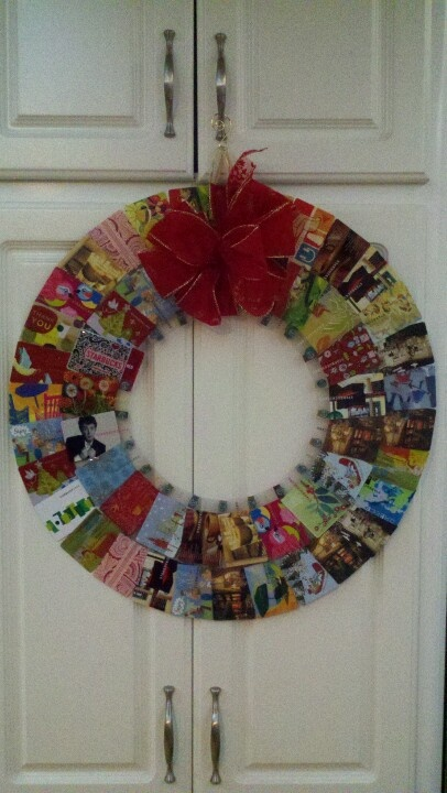 I do love Starbucks, so I created a wreath to display all my used Starbucks cards!  Maybe this explains my ADHD!