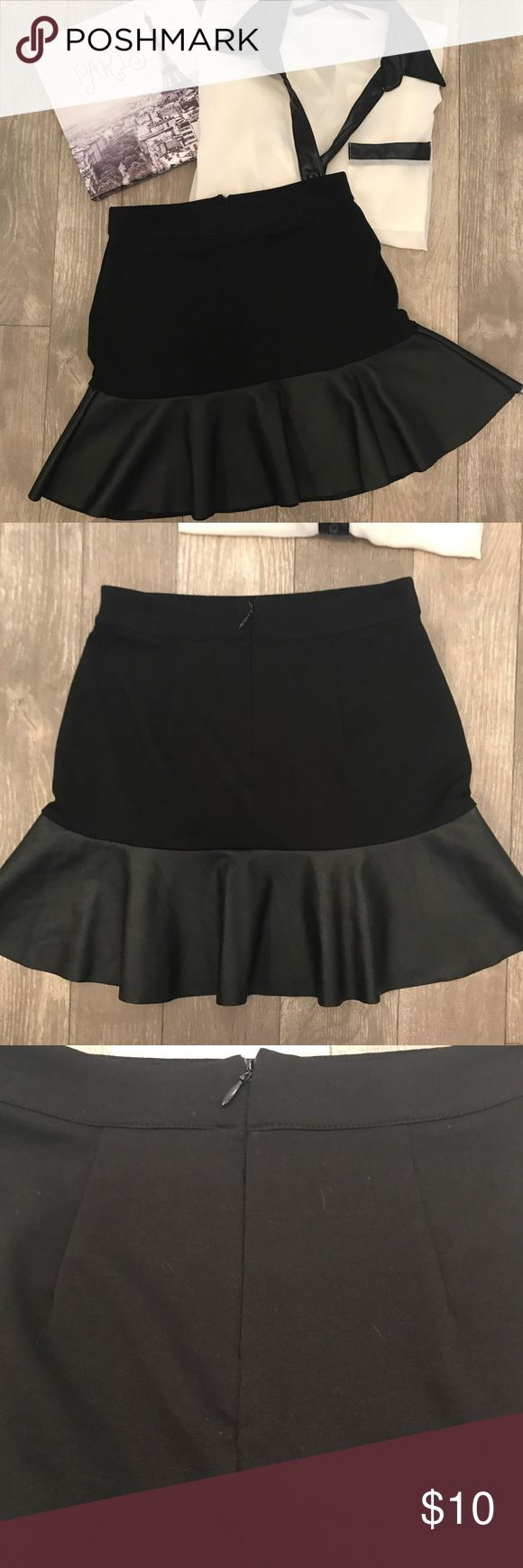 Black Faux Leather Trumpet Skirt S Excellent condition with no flaws! 100% Polyester. Forever 21 Skirts