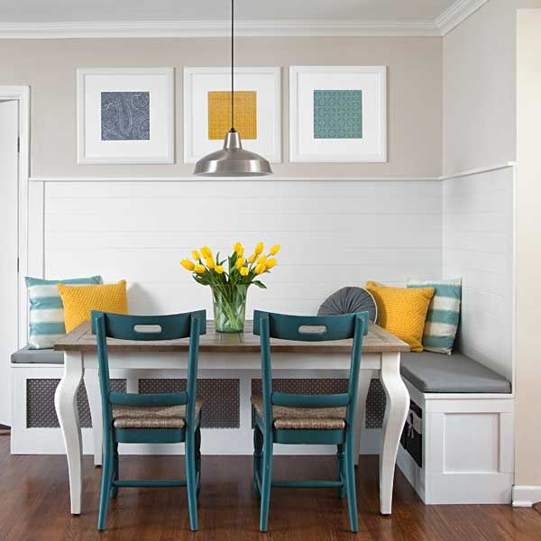We love this breakfast nook created by bloggers Sada and Reagan Lewis who tackle renovation projects in their 1960s ranch, in San Antonio, and share them at sadalewis.com. | Photo: Ryann Ford | thisoldhouse.com