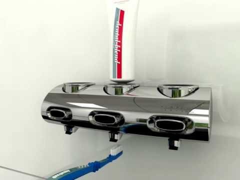 Zahnpastaspender Tubotec.de für restloses leeren der Original Zahncremetuben. Tubotec.de ist ebenso Duschgelspender, Seifenspender, Shampoospender und Universalspender für das Badezimmer in der Dusche oder im Spiegelbereich.