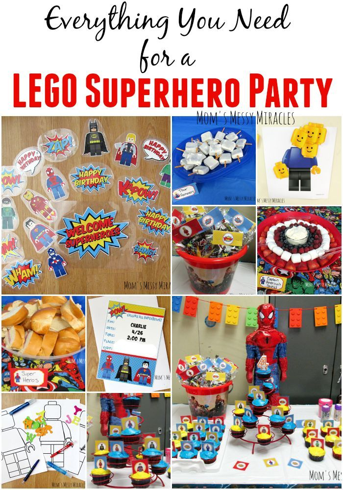 Everything you need for a LEGO Superhero Party! Favors, food, decorations, games!
