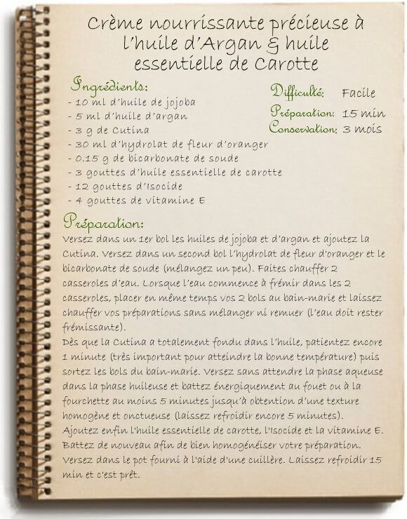 Recette crème nourrissante à l'huile d'argan: antiride et peau fragile