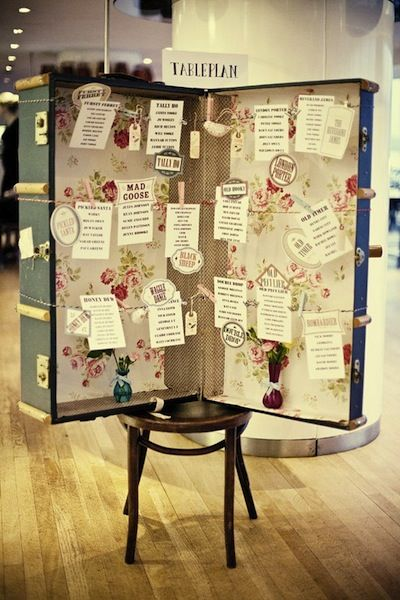 Great way to use a vintage suitcase as a seating plan. Check our our vintage suitcases for hire on www.peonyandlace.co.uk