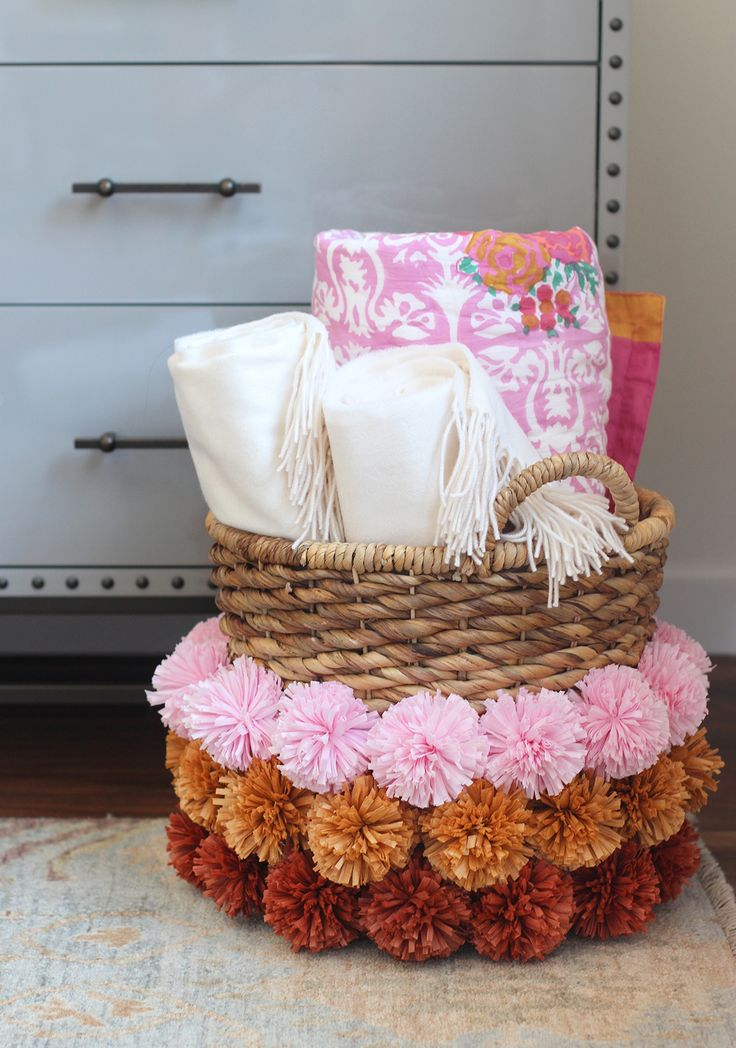 Source:honestlywtf.com 10. Pom Pom Basket How fun are these pom poms on this basic basket? I love how much color and texture it adds to an otherwise boring basket. The best part is that you don't even have to weave these or sew them onto the basket. Just use some glue to attach them andContinue Reading...