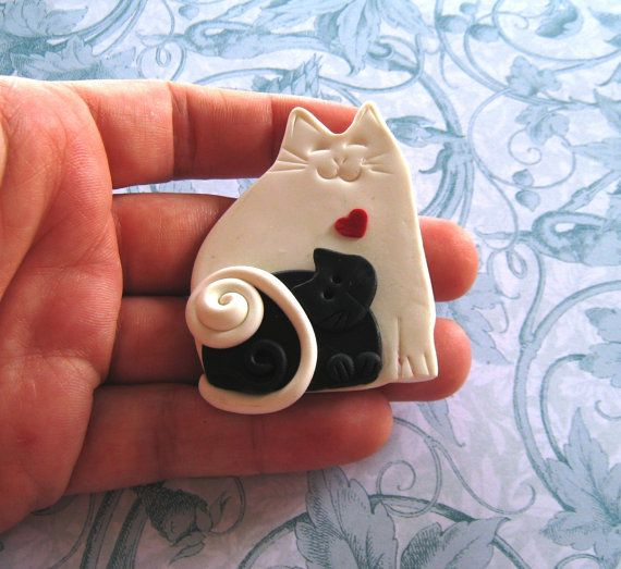 Fimo Polymer Clay Black and White Mother Cat with Baby Brooch Pin or Magnet