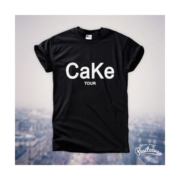 CaKe TOUR T-SHIRT CARA DELEVINGNE KENDALL JENNER KIM KANYE FAN FRIENDS... ❤ liked on Polyvore featuring tops, t-shirts, unisex tees, unisex t shirts and unisex tops