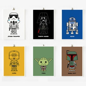 Cute Star wars art print 5 x 7 set of 6 (Set A) by Loopz