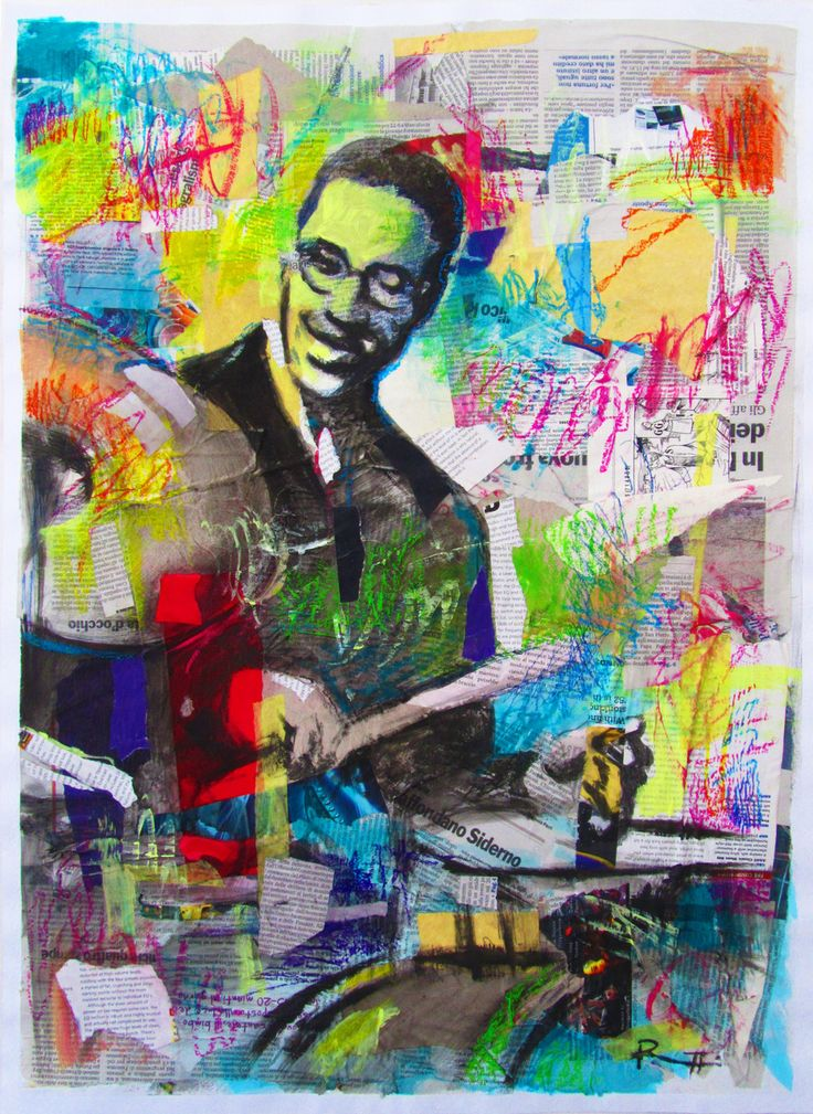 """Davide Ricchetti, """"The drummer"""", acrylic and collage on paper, cm 70x50, 2015"""