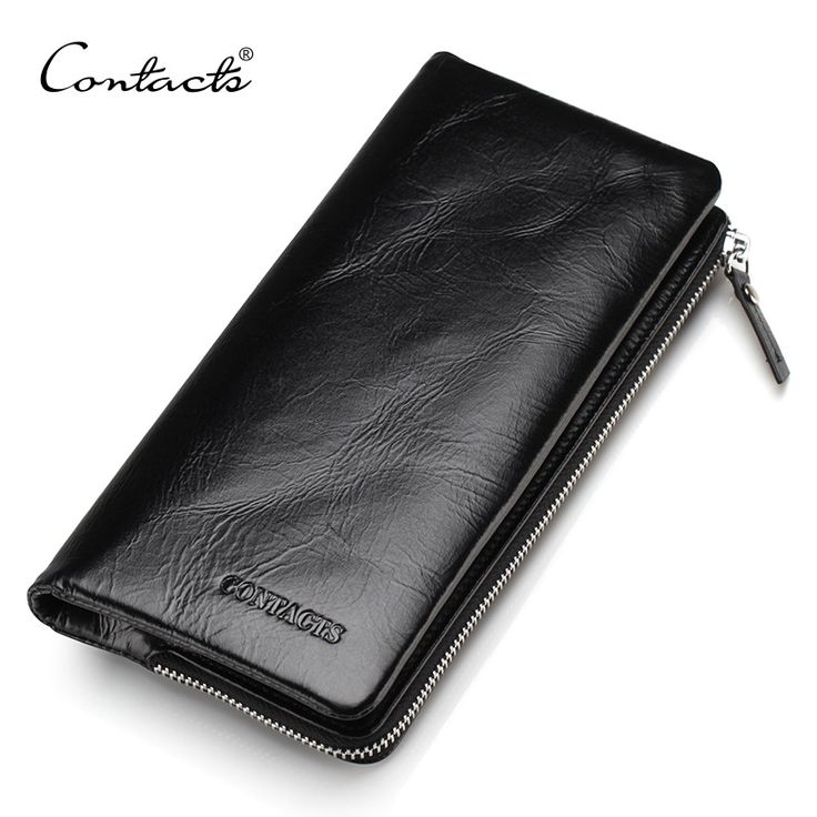 CONTACT'S Genuine Leather 2016 New Classical Vintage Style Men Wallets Wallet Fashion Brand Purse Card Holder Wallet Long Clutch