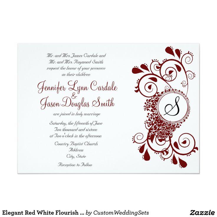 Elegant Red White Flourish Monogram Wedding Invite