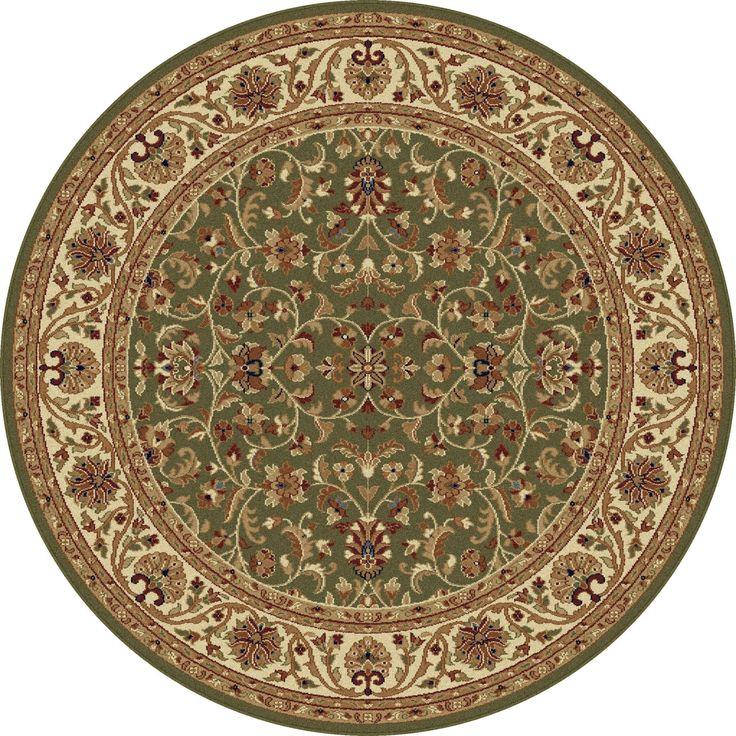 Alise Soho Round Transitional Area Rug (5'3 Round) (Green - N/A - 5') (Polypropylene, Oriental)