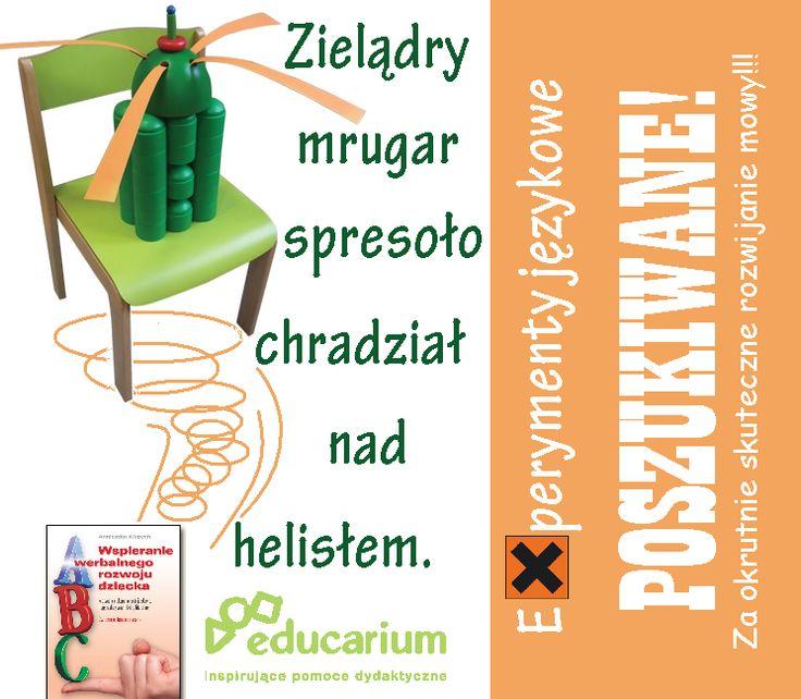"""krzesło + helikopter = helisło :) W oparciu o eksperymenty językowe, tropy literackie i dobrą literaturę można nieco inaczej podejść do rozwijania mowy. Książka """"Wspieranie rozwoju werbalnego dziecka"""" to śmieszne i angażujące ćwiczenia terapeutyczne, w sam raz na jesienne dni!  http://sklep.educarium.pl/educarium.php?section=1&kategoria=10&subkategoria=66&produkt=6848"""
