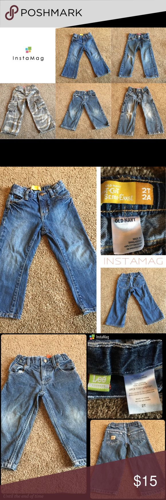 2T Boys Jean Bundle of 5 w/Adjustable Waist Band 5 pairs of toddler jeans. All Jeans are a 2T in size and have an Adjustable Waist Band inside. Gently used and any imperfections are listed below and shown in pictures.   * Old Navy Bootcut Semi-Evase * Lee Toddlers * Levi 514 Slim Straight - (tear on left knee) * Levi's 549 Relaxed Straight - Camouflage  * Levi Painter - (tear on left knee)  Gently used. All items come from a clean smoke/pet free home. thanks ☺️ Levi's Bottoms Jeans