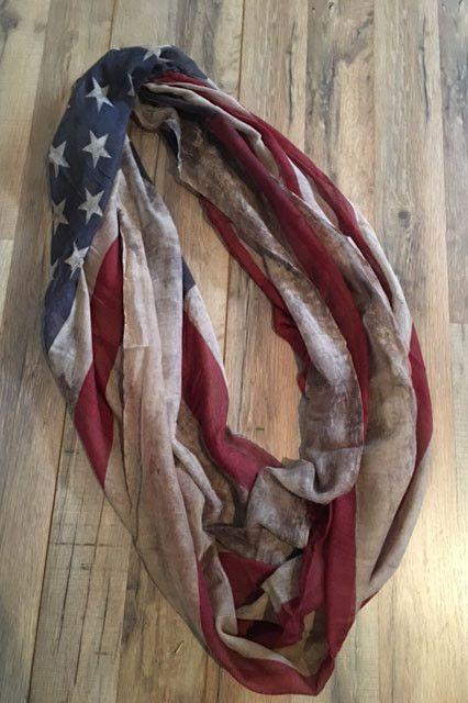 Vintage American Flag Scarf - Beige Infinity