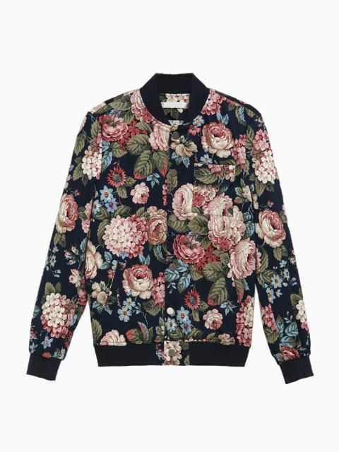 Men's Floral Print Bomber Jacket in Blue | Choies