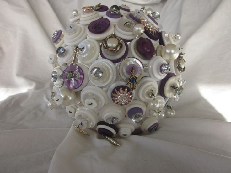 Jewish Button Wedding Bouquet, White with hints of purples Button Bouquet by Over The top Floristry