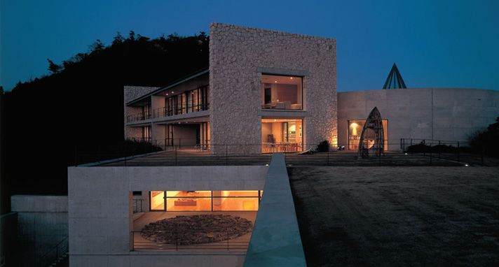 Benesse House at night - Naoshima, Japan. See more: http://almanacofstyle.com/2013/05/21/the-magical-art-island-of-naoshima/