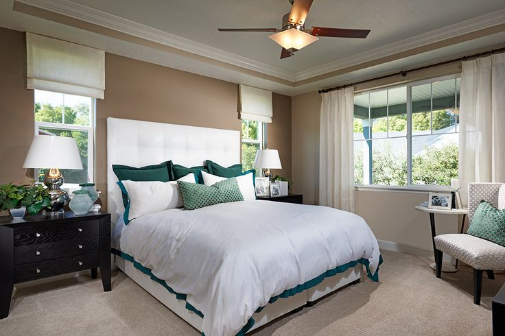 Master bedroom with tray ceiling and wide windows | Jessica model home | Royal Farms in Riverton, Utah | Richmond American Homes