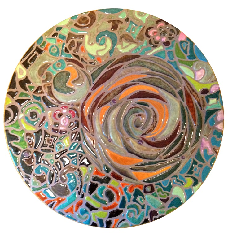 """This is a 20"""" circle. Mosaic porcelain. Can be used as a lazy susan or hang on wall as art"""
