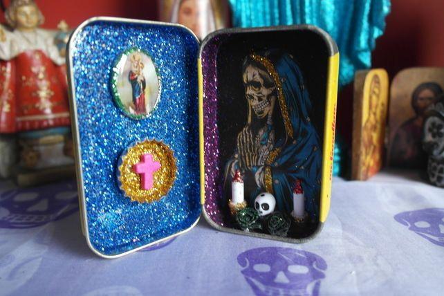 Santa Muerte Tin Altar £10.00 Shrines, Trinkets, Altars, Mexican Folk Art.