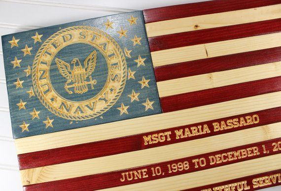 Us Navy Flag Rustic Wooden American Flag Military