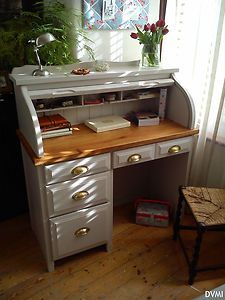 lovely painted vintage antique pine shabby chic roll top desk farrow u0026 ball