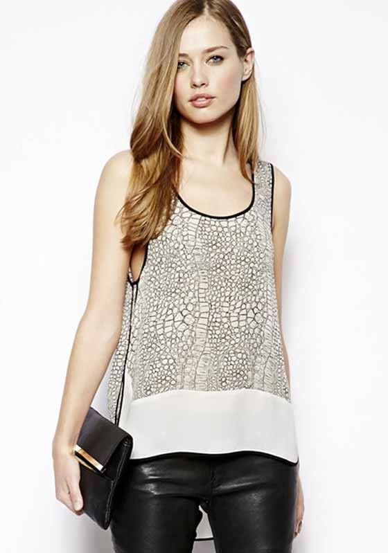 Love Black + White! White Snakeskin Print Round Neck Sleeveless Wrap Chiffon Tank Top! #Black_and_White #Summer #Tank_Top #Fashion