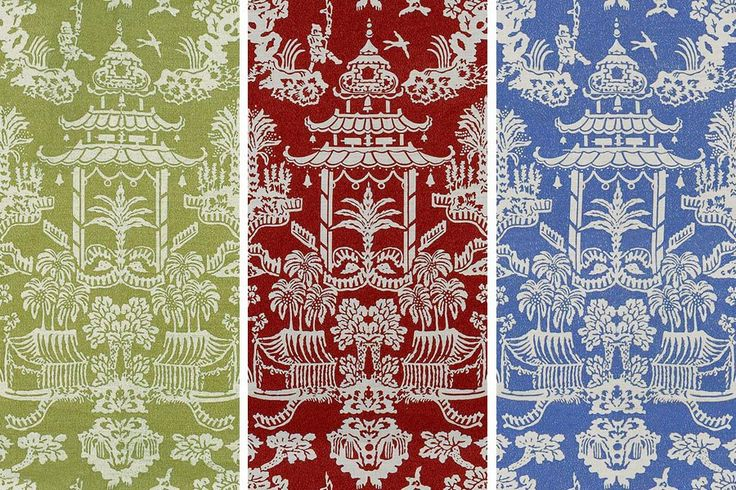 Brunschwig & Fils's Lhasa pattern was originally based on a wallpaper in the Victoria and Albert Museum in London.